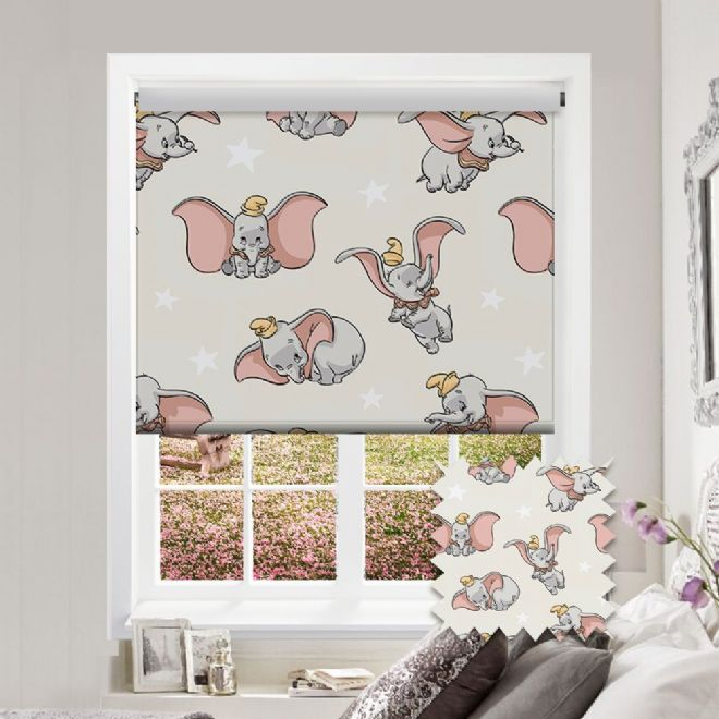 Premium Roller in Disney Dumbo Patterned Fabric - Just Blinds